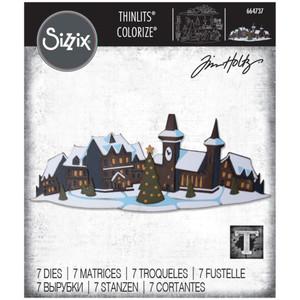 PRE-ORDER Tim Holtz Paper Village Thinlits Dies By Sizzix 16//Pkg Tiny Houses