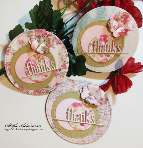 Mini Circle Thank You Cards with Prima Marketing and Lawn Fawn