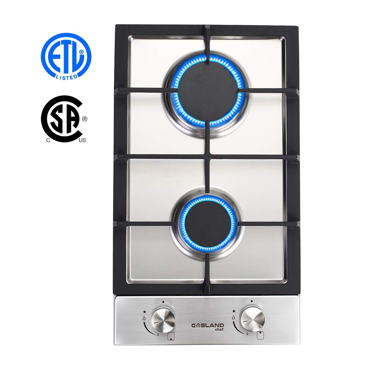 Thermocouple Protection /& Easy To Clean Gasland chef GH30BF 12 Built-in Gas Stove Top Gas Cooktop Gas Stove Top with 2 Sealed Burners ETL Safety Certified Tempered Glass LPG Natural Gas Cooktop