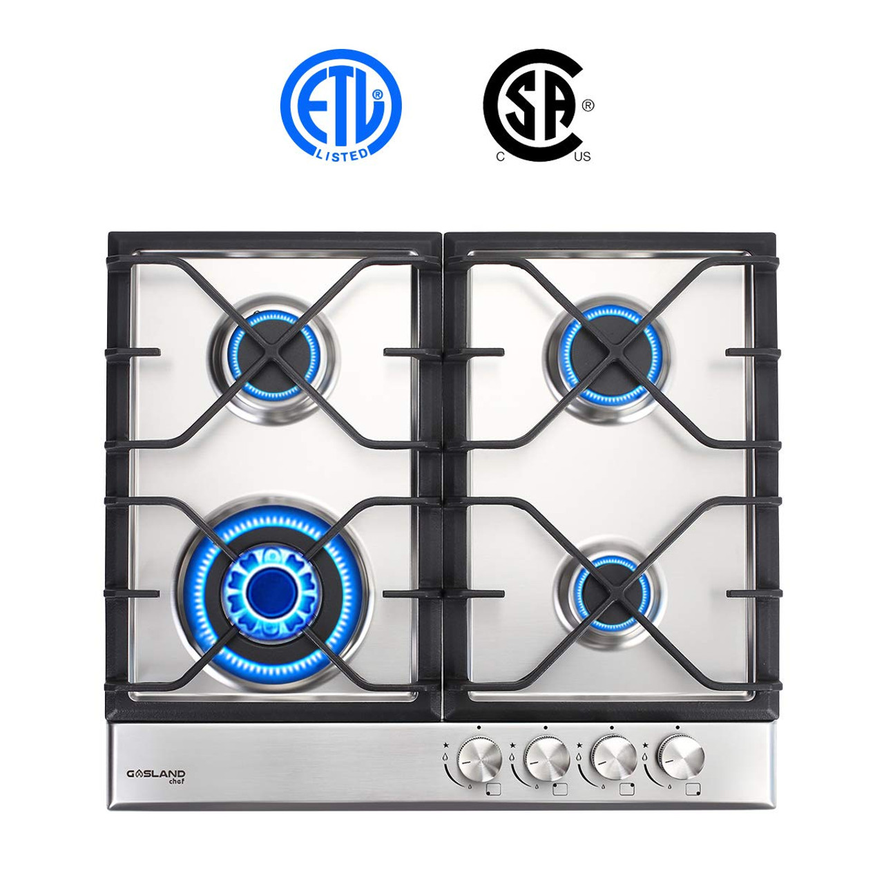 Gas Cooktop Gasland Chef Gh60ssc Built In Gas Stove Top Stainless Steel Lpg Natural Gas Cooktop 24 Gas Stove Top With 4 Sealed Burners Etl Safety Certified Thermocouple Protection Easy To Clean
