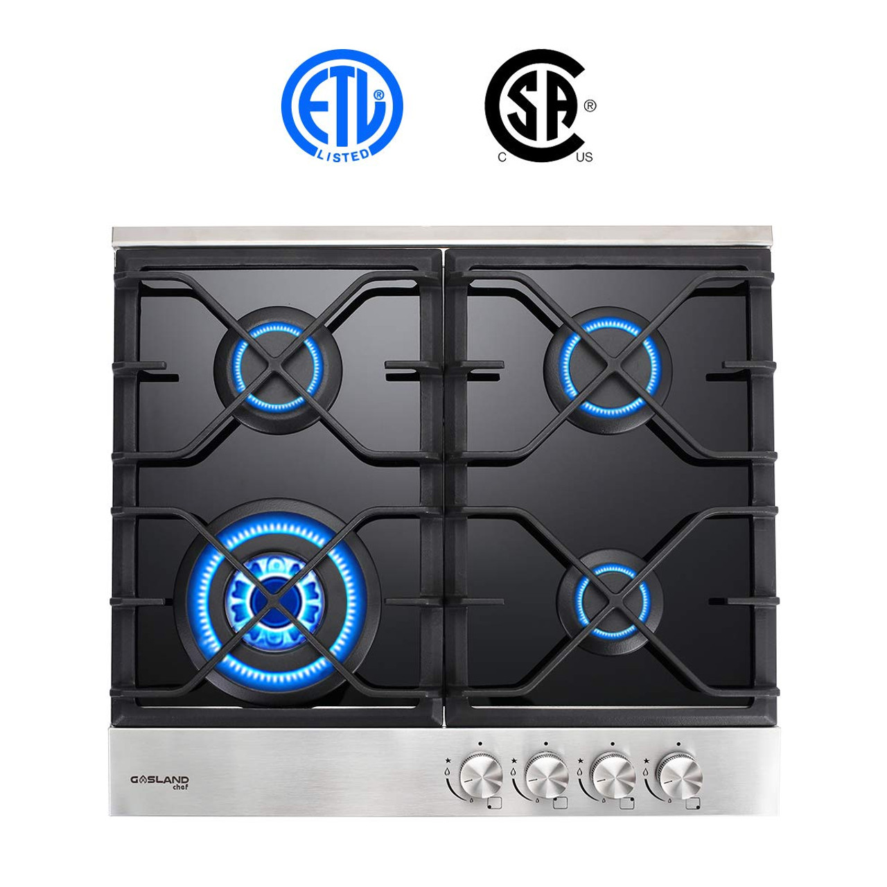 Gas Cooktop Gasland Chef Gh60bf 24 Built In Gas Stove Top Black Tempered Glass Lpg Natural Gas Cooktop Gas Stove Top With 4 Sealed Burners Etl Safety Certified Thermocouple Protection Easy To