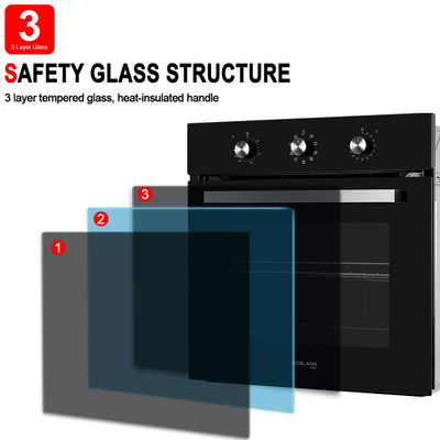 """Gasland Chef ES609MB 24"""" Built-in Single Wall Oven, 6 Cooking Function, Full American Black Glass Electric Wall Oven With Cooling Down Fan"""