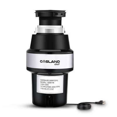 Gasland Chef GD511B Kitchen Garbage Disposal with Power Cord, 1/2 HP Universal Garbage Disposer Continuous Feed, Quiet Food Waste Disposer 4000 RPM, Stainless Steel Flange and Grind System, Black