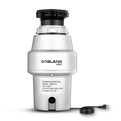 GASLAND Chef GD511S Kitchen Garbage Disposal with Power Cord, 1/2 HP Universal Garbage Disposer Continuous Feed, Quiet Food Waste Disposer 4000 RPM, Stainless Steel Flange and Grind System, Silver