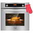 """Single Wall Oven, GASLAND Chef Pro GS606DS 24"""" Built-in Natural Gas Oven, 6 Cooking Functions Convection Gas Wall Oven with Rotisserie, Digital Display with Mechanical Knob Control, Stainless Steel Finish"""