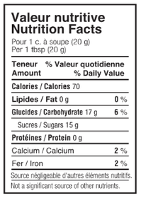 Maple Cream - Nutrition Facts