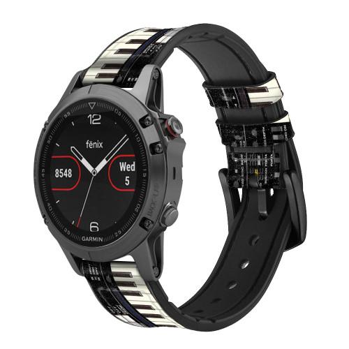 CA0002 Synthesizer Smart Watch Armband aus Silikon und Leder für Garmin Smartwatch
