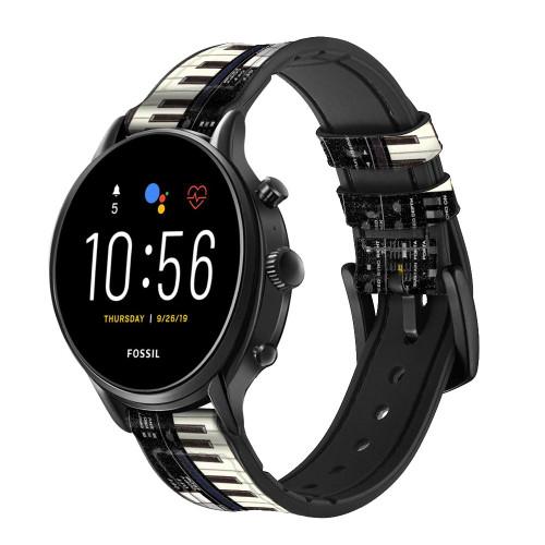 CA0002 Synthesizer Smart Watch Armband aus Silikon und Leder für Fossil Smartwatch