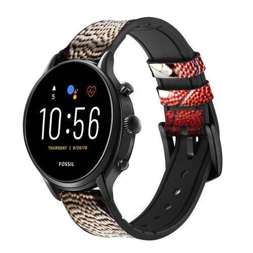 CA0003 American Football Smart Watch Armband aus Silikon und Leder für Fossil Smartwatch