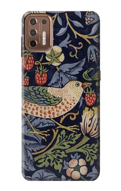 W3791 William Morris Strawberry Thief Fabric Hülle Schutzhülle Taschen und Leder Flip für Motorola Moto G9 Plus