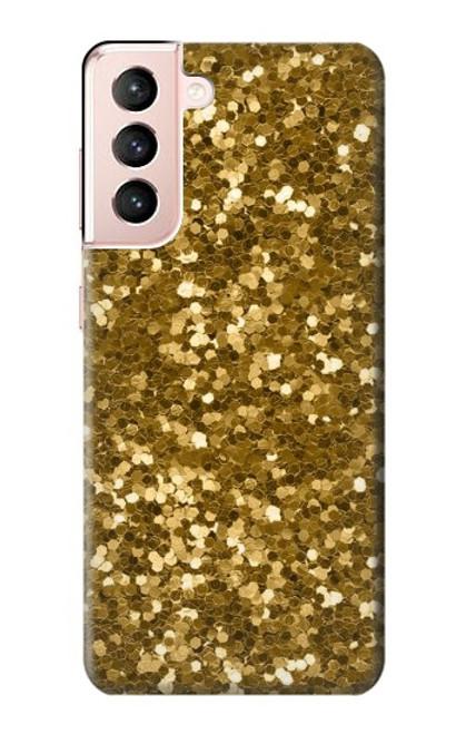 W3388 Gold Glitter Graphic Print Hülle Schutzhülle Taschen und Leder Flip für Samsung Galaxy S21 5G