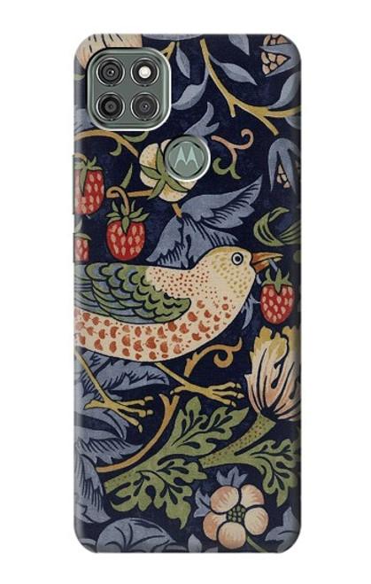 W3791 William Morris Strawberry Thief Fabric Hülle Schutzhülle Taschen und Leder Flip für Motorola Moto G9 Power