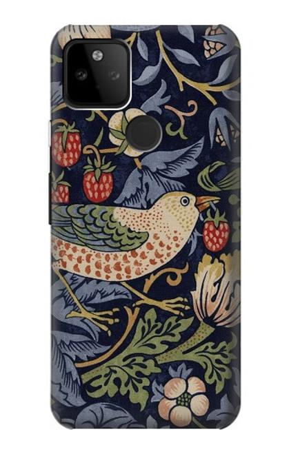 W3791 William Morris Strawberry Thief Fabric Hülle Schutzhülle Taschen und Leder Flip für Google Pixel 5A 5G