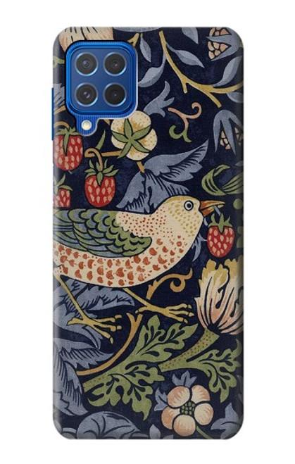 W3791 William Morris Strawberry Thief Fabric Hülle Schutzhülle Taschen und Leder Flip für Samsung Galaxy M62