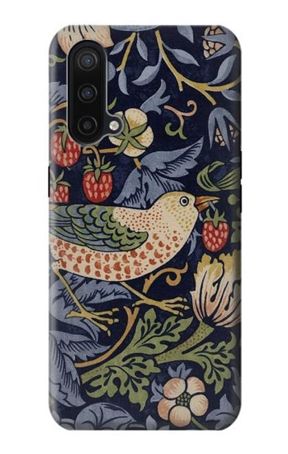 W3791 William Morris Strawberry Thief Fabric Hülle Schutzhülle Taschen und Leder Flip für OnePlus Nord CE 5G