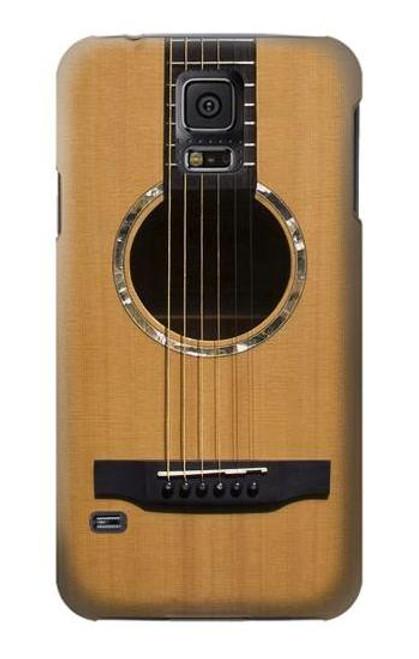 W0057 Acoustic Guitar Hülle Schutzhülle Taschen und Leder Flip für Samsung Galaxy S5