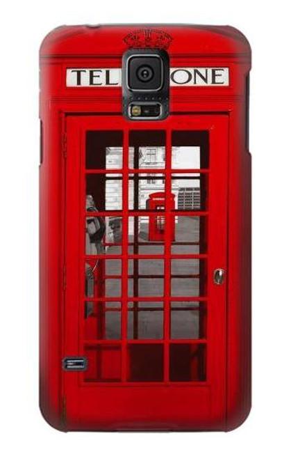 W0058 British Red Telephone Box Hülle Schutzhülle Taschen und Leder Flip für Samsung Galaxy S5