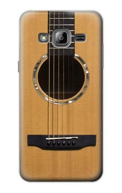 W0057 Acoustic Guitar Hülle Schutzhülle Taschen und Leder Flip für Samsung Galaxy J3 (2016)