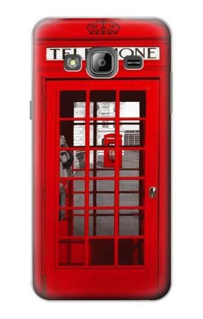 W0058 British Red Telephone Box Hülle Schutzhülle Taschen und Leder Flip für Samsung Galaxy J3 (2016)