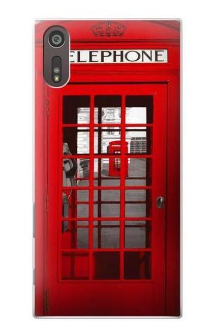 W0058 British Red Telephone Box Hülle Schutzhülle Taschen und Leder Flip für Sony Xperia XZ