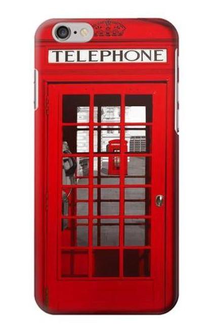 W0058 British Red Telephone Box Hülle Schutzhülle Taschen und Leder Flip für iPhone 6 6S