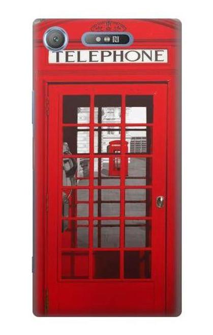 W0058 British Red Telephone Box Hülle Schutzhülle Taschen und Leder Flip für Sony Xperia XZ1