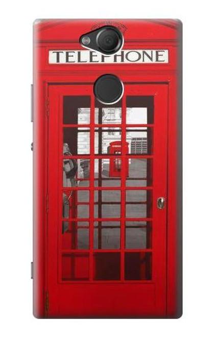 W0058 British Red Telephone Box Hülle Schutzhülle Taschen und Leder Flip für Sony Xperia XA2