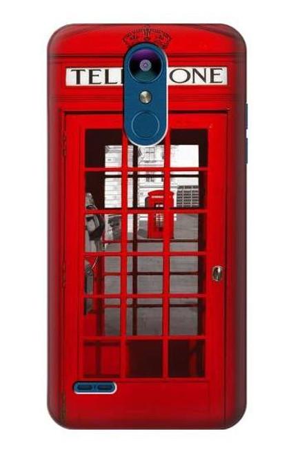 W0058 British Red Telephone Box Hülle Schutzhülle Taschen und Leder Flip für LG K8 (2018)