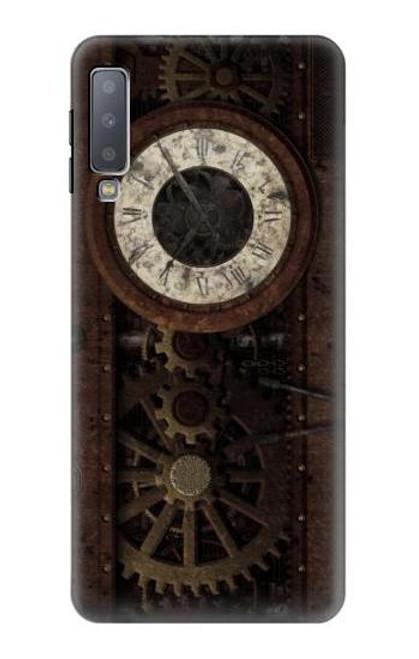 W3221 Steampunk Clock Gears Hülle Schutzhülle Taschen und Leder Flip für Samsung Galaxy A7 (2018)