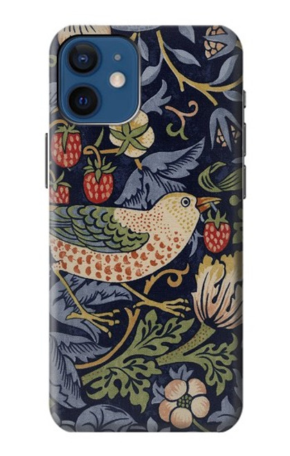 W3791 William Morris Strawberry Thief Fabric Hülle Schutzhülle Taschen und Leder Flip für iPhone 12 mini