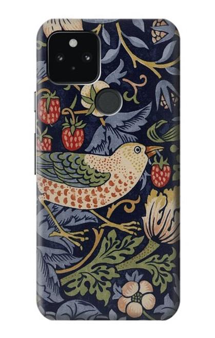 W3791 William Morris Strawberry Thief Fabric Hülle Schutzhülle Taschen und Leder Flip für Google Pixel 5