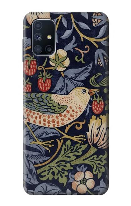 W3791 William Morris Strawberry Thief Fabric Hülle Schutzhülle Taschen und Leder Flip für Samsung Galaxy M51