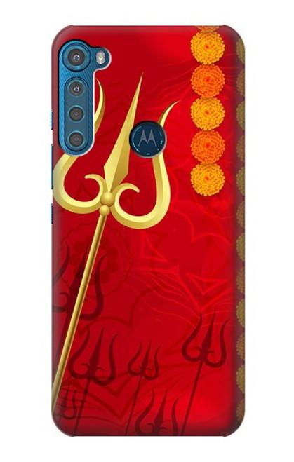 W3788 Shiv Trishul Hülle Schutzhülle Taschen und Leder Flip für Motorola One Fusion+