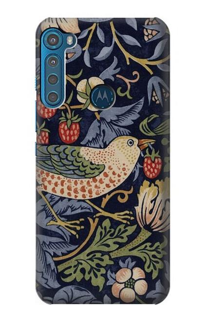 W3791 William Morris Strawberry Thief Fabric Hülle Schutzhülle Taschen und Leder Flip für Motorola One Fusion+