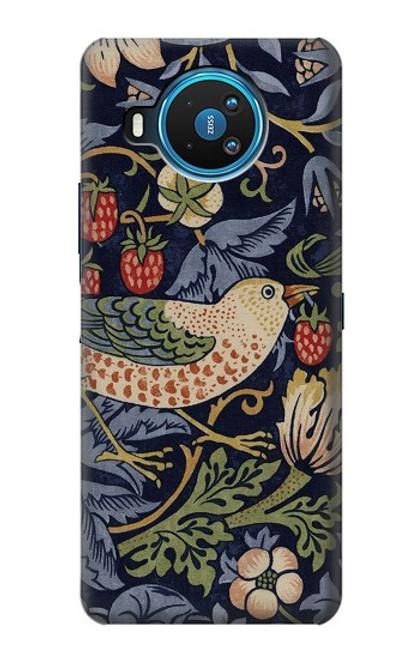 W3791 William Morris Strawberry Thief Fabric Hülle Schutzhülle Taschen und Leder Flip für Nokia 8.3 5G