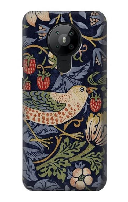 W3791 William Morris Strawberry Thief Fabric Hülle Schutzhülle Taschen und Leder Flip für Nokia 5.3