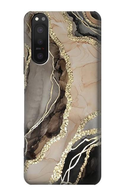 W3700 Marble Gold Graphic Printed Hülle Schutzhülle Taschen und Leder Flip für Sony Xperia 5 II