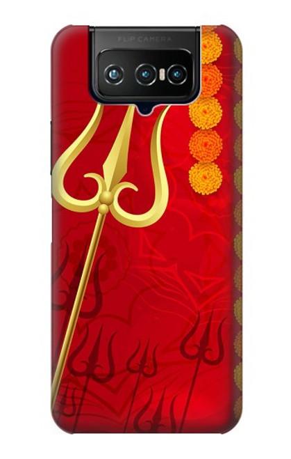 W3788 Shiv Trishul Hülle Schutzhülle Taschen und Leder Flip für ASUS ZenFone 7 Pro