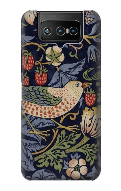 W3791 William Morris Strawberry Thief Fabric Hülle Schutzhülle Taschen und Leder Flip für ASUS ZenFone 7 Pro