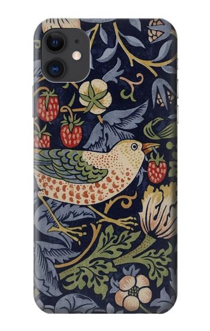 W3791 William Morris Strawberry Thief Fabric Hülle Schutzhülle Taschen und Leder Flip für iPhone 11