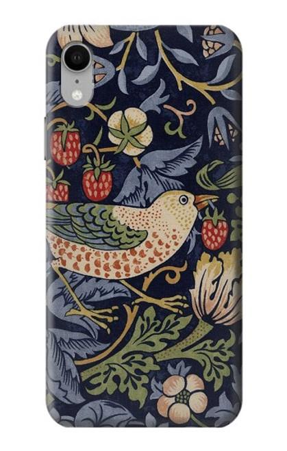 W3791 William Morris Strawberry Thief Fabric Hülle Schutzhülle Taschen und Leder Flip für iPhone XR