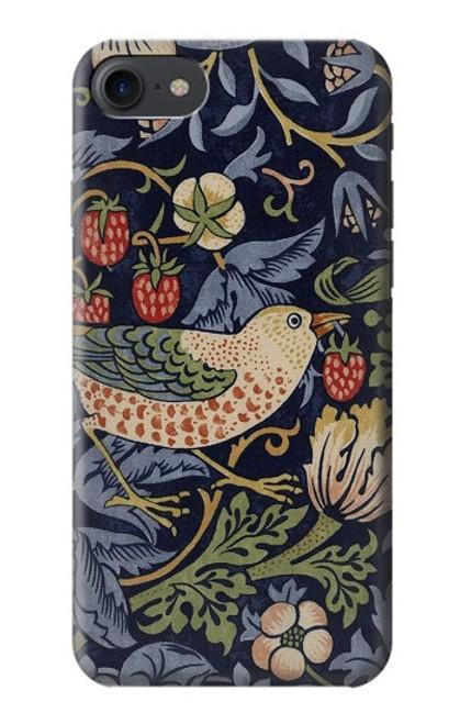 W3791 William Morris Strawberry Thief Fabric Hülle Schutzhülle Taschen und Leder Flip für iPhone 7, iPhone 8, iPhone SE (2020)