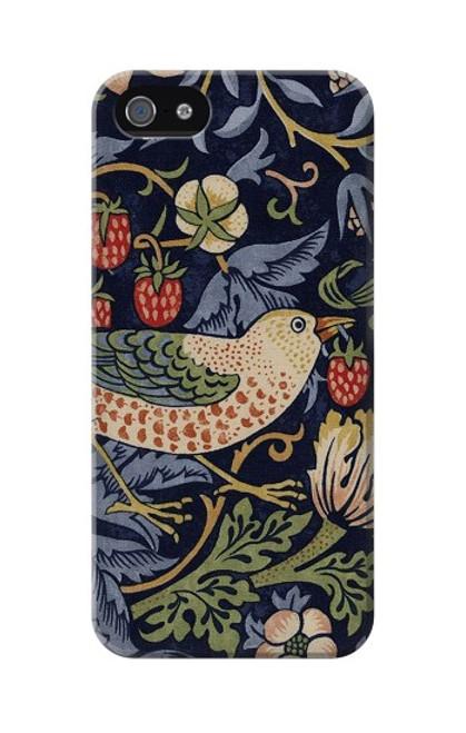 W3791 William Morris Strawberry Thief Fabric Hülle Schutzhülle Taschen und Leder Flip für iPhone 5 5S SE