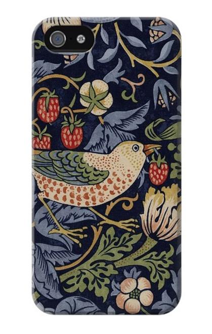 W3791 William Morris Strawberry Thief Fabric Hülle Schutzhülle Taschen und Leder Flip für iPhone 4 4S