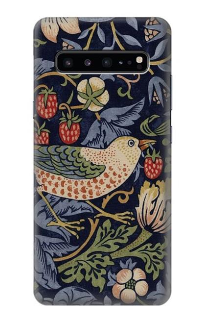 W3791 William Morris Strawberry Thief Fabric Hülle Schutzhülle Taschen und Leder Flip für Samsung Galaxy S10 5G