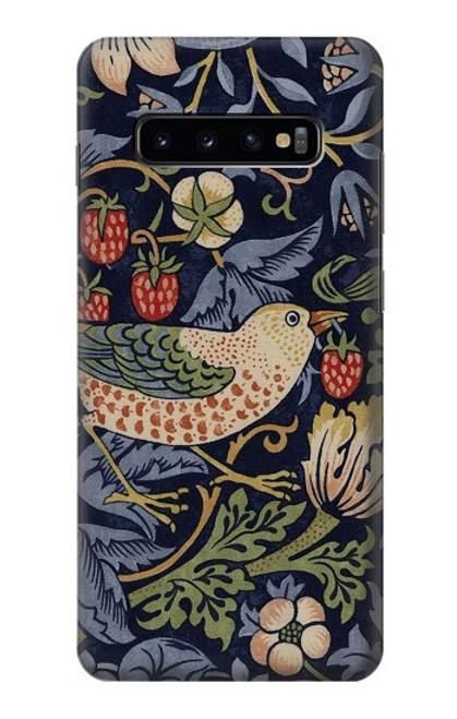 W3791 William Morris Strawberry Thief Fabric Hülle Schutzhülle Taschen und Leder Flip für Samsung Galaxy S10 Plus