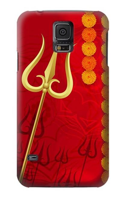 W3788 Shiv Trishul Hülle Schutzhülle Taschen und Leder Flip für Samsung Galaxy S5