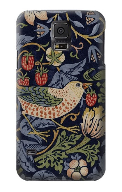 W3791 William Morris Strawberry Thief Fabric Hülle Schutzhülle Taschen und Leder Flip für Samsung Galaxy S5