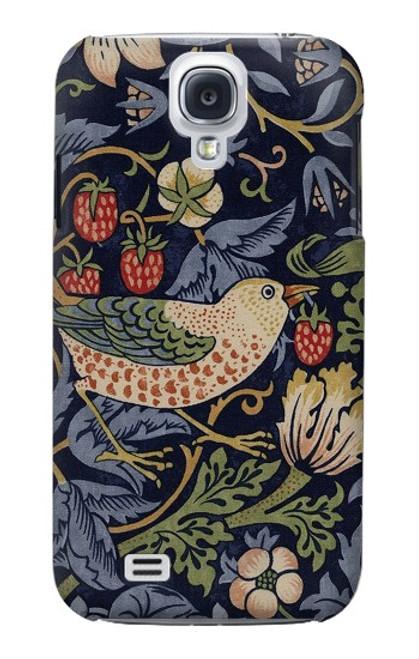 W3791 William Morris Strawberry Thief Fabric Hülle Schutzhülle Taschen und Leder Flip für Samsung Galaxy S4