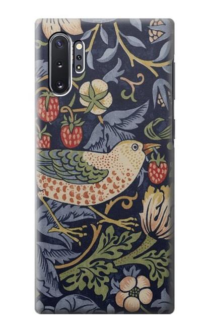 W3791 William Morris Strawberry Thief Fabric Hülle Schutzhülle Taschen und Leder Flip für Samsung Galaxy Note 10 Plus